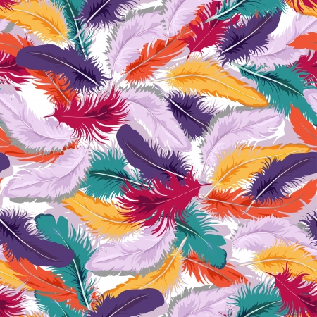 Decorative seamless background with colorful feathers.  Vector