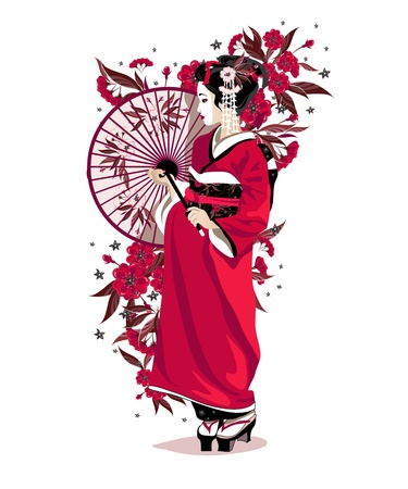 Japanese girl in red traditional clothes with umbrella and flowers. Иллюстрация