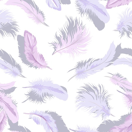 Decorative seamless background with tender light feathers.  Vector