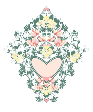 Decorative floral frame from sweet pea flowers and leafs.  Vector