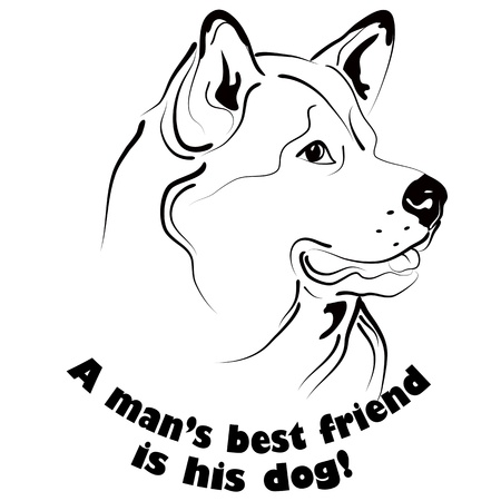 husky: Graphic black and white dog face drawing with text. Illustration