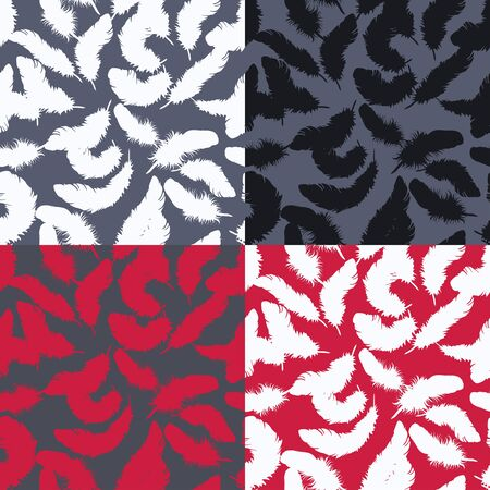 Decorative silhouette four seamless  set with  feathers patterns.  Vector