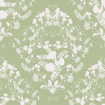sweet pea: Decorative classic sweet pea silhouette seamless patterns. Illustration