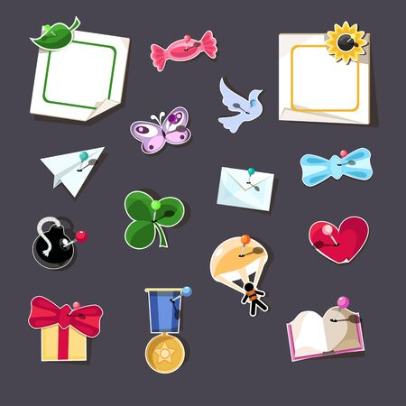Set of 15 design elements with pins.  Vector