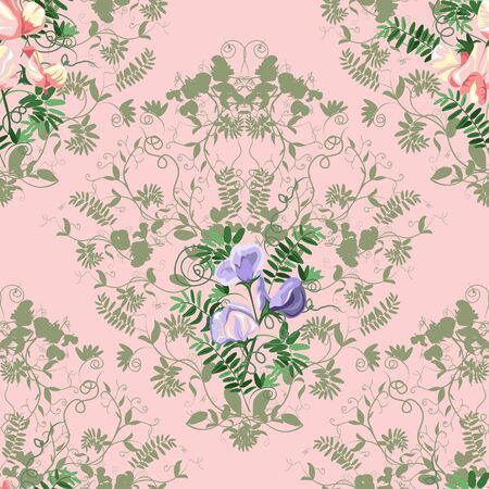 sweet pea: Decorative classic sweet pea seamless patterns.