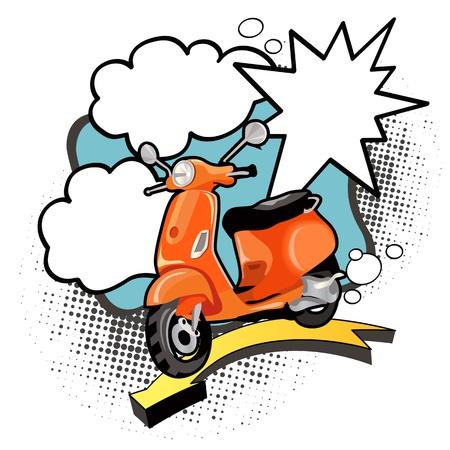 vespa: Cartel de la vendimia con la moto naranja y burbujas.
