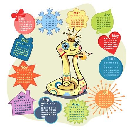 snake calendar: Calendar 2013 with funny snake symbol. Illustration