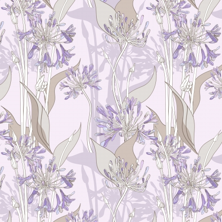 repeatable: Seamless background with violet graphic flowers.