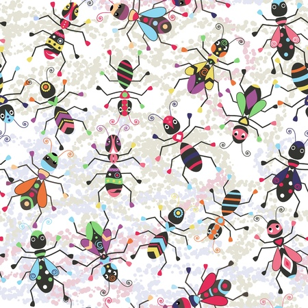 Funny seamless background with colorful stylized insects. Stock Vector - 15918290