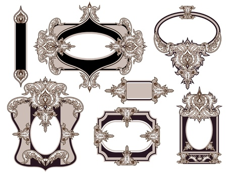 Set of 7 vintage classic graphic frames.  Vector