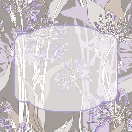 Graphic background with violet graphic flowers and transparent frame.  Vector