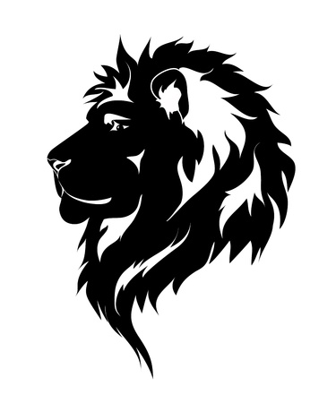 Graphic lion, black and white drawing for tattoo. Stock Vector - 16190165