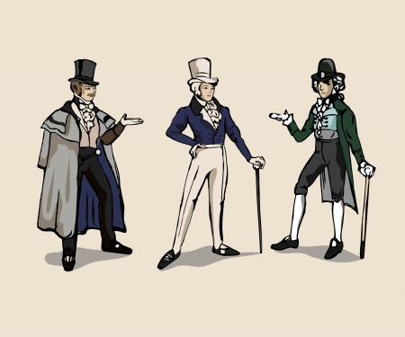 3 drawings of 19th century man costume