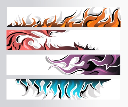 Set of 4 colorful fire decorative horizontal banners. Vector