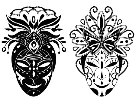 black and white image: Two graphic black and white decorative masks. Illustration