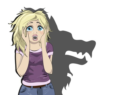 fear illustration: Frightened young blond girl character. Illustration