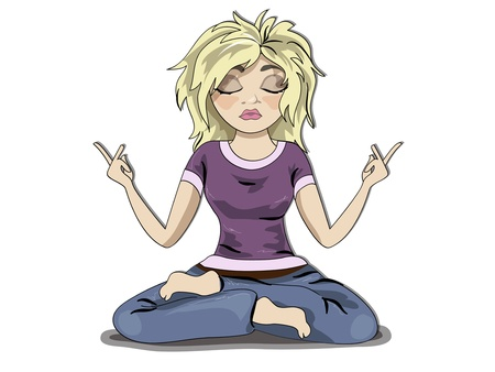 yoga girl: Funny young blond girl character, meditation.