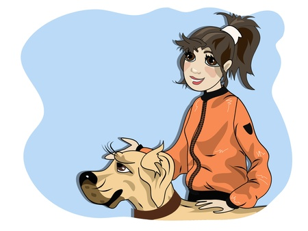 dog walk: Young girls dog owner with her pet.  Illustration