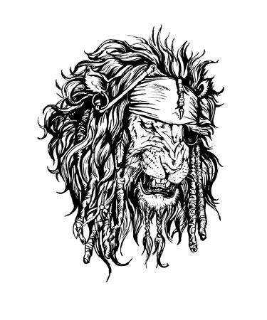 dreadlocks: vector dibujado a mano realista carácter león-pirata.