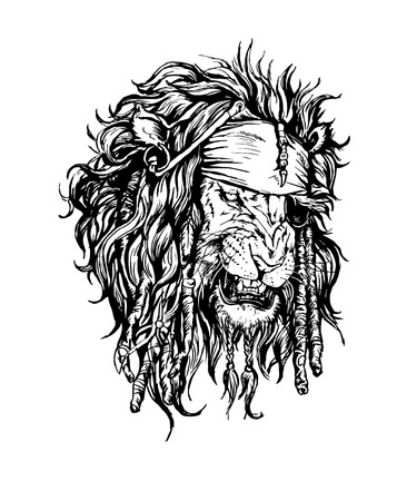 predators: Vector hand drawn realistic lion-pirate character.