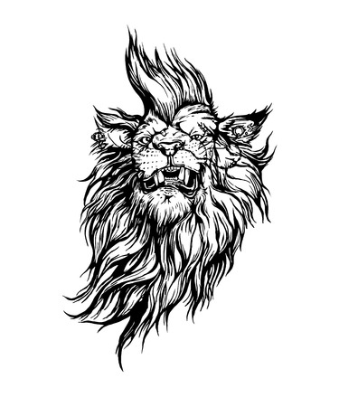 charismatic: Vector hand drawn realistic lion punk character.