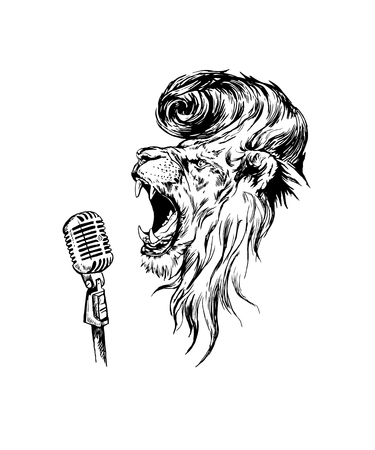 Vector hand drawn realistic rockroll lion character.