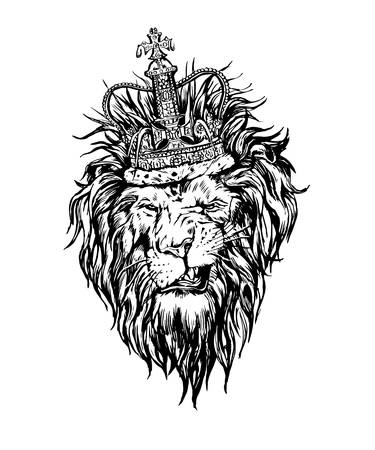black and white image: Hand drawn realistic lion in crown character. Illustration