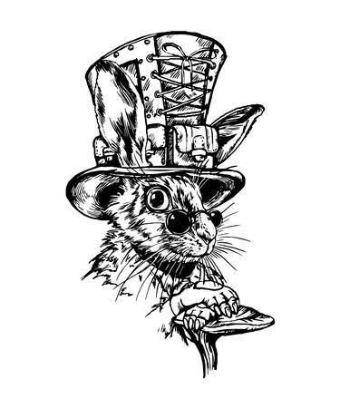 Hand drawn black & white retro hare character. Illustration