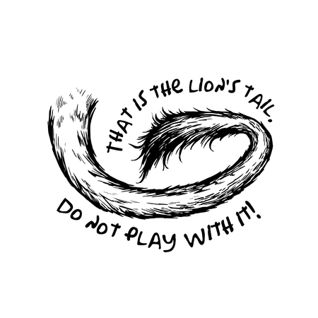 lion tail: Hand drawn black & white lion tail illustration.