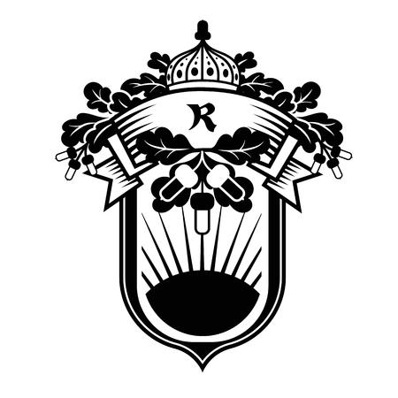 Vector graphic emblem with oak tree motives. Illustration