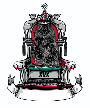 Vector illustration of big Maine Coon black cat sitting on throne.
