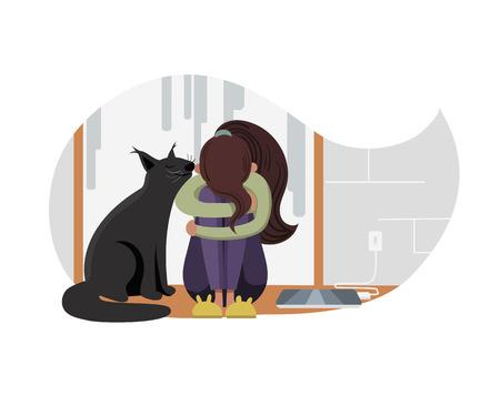 Ilustración de vector de niña y gato.