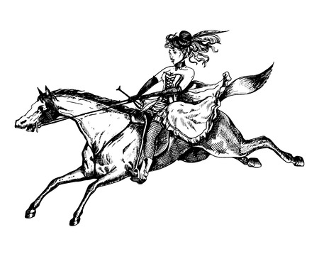 Burlesque horse rider vintage vector illustration. Illustration