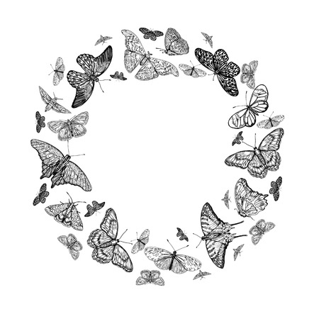 Decorative vintage round frame with hand drawn butterflies. Stock Vector - 121989405