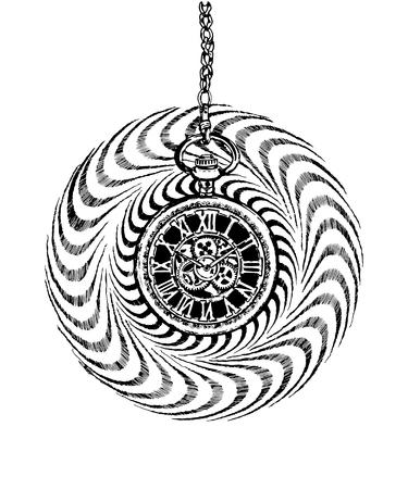 Vintage hand-drawn black and white hypnosis retro pocket clock.