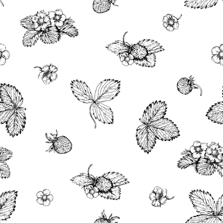 Vintage hand drawn black and white strawberries seamless. Stock Vector - 121989409