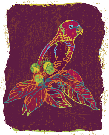 Vector grange colorful background with parrot drawing.