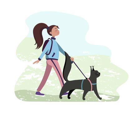 Girl and cat vector illustration, walking together. Illustration