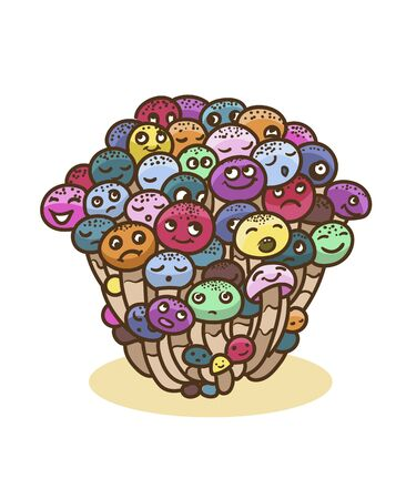 Vector colorful mushroon bunch with emotional faces.