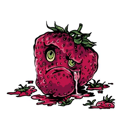 Vector angry strawberry funny character.