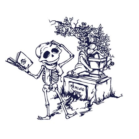 Funny skeleton character is reading poetry on tomb. Memento mory