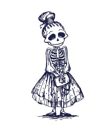 Funny skeleton girl character going to date. Memento mory