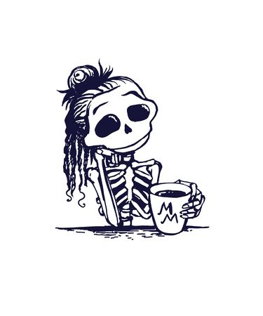 Cute skeleton girl character is drinking morning coffe. Memento mory