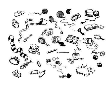 Black and white bet of hand drawn broken domestic objects. 向量圖像
