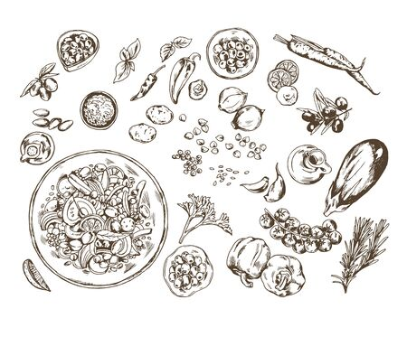 Hand drawn realistic mediterranean food ingredients set.