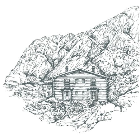 Realistic vector northen mountain view with traditional log house.