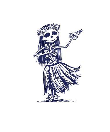 Cute skeleton girl character dancing Hawaii traditional dance. Memento mory Illustration