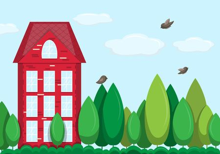 Houses exterior vector illustration front view with roof. Home facade with windows. Иллюстрация
