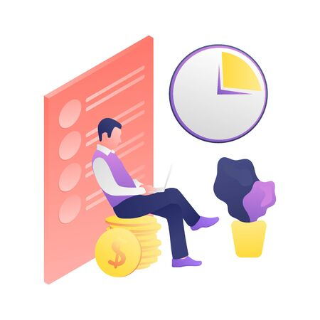 The concept of time and money. A man works with a laptop while sitting on coins. The clock shows the elapsing time. Vector isolated flat illustration. Web design, banner, poster. Ilustracja