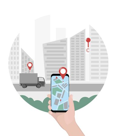 Close-up of a person s hand holds smartphone for tracking delivery. City skyline and truck on the white background. Tracking system. Mobile App. Vector illustration in flat style Illusztráció